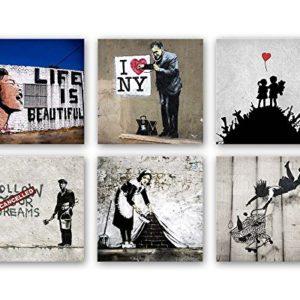 Banksy Bilder Set B, 6-teiliges Bilder-Set jedes Teil 19x19cm, Seidenmatte Optik auf Forex, Moderne schwebende Optik, UV…