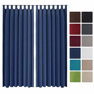 Beautissu 2er Set Gardine Blackout-Vorhang Amelie Schlaufen 140×245 cm blickdichter Schlaufenschal – Verdunklungsgardine…