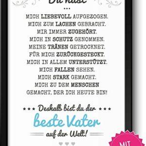 Bester Vater Bild im Holz-Rahmen A4 Personalisiert mit Namen Geschenke Geschenkideen für Papa als DankeschönVatertag