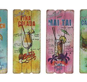 "Bild mit Spruch ""Cocktails 4er Set "" bunt Holzbild Wandbild Holz Shabby Chic Vintage"