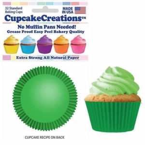 Cupcake Creations 2″Height BAKING CUPS Green 32 Pack No Muffin Pan Needed