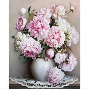 Dreamsy Ölgemälde durch Zahlen, DIY handgemalte Blumen Bilder Leinwand Malerei Wohnzimmer Wand Kunst Home Decor Geschenk – 16 * 20 Zoll mit Rahmen