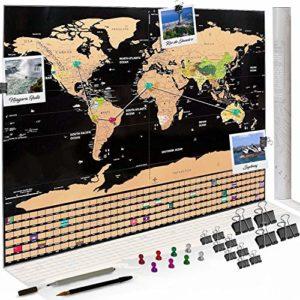 Weltkarte zum Rubbeln – Rubbel Weltkarte – Deutsch 80x60cm: Fotos anheften, Pläne einzeichnen – Scratch off Landkarte zum Freirubbeln – Rubbel Map