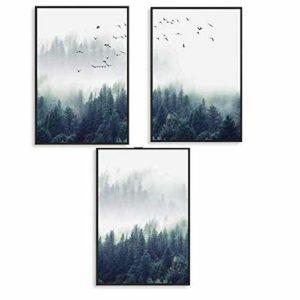 EXQULEG 3er Set Design-Poster Wandbilder-Wald und Vögel im Nebel-Ohne Rahmen- Deko für Wohnzimmer, Sofa, Veranda, Gang (21x30cm)