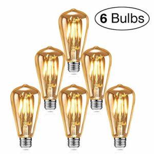 isimsus Retro Warmweiß E27 Antike 40W Vintage Edison LED Filament Dekorative Glühbirne Ideal für Nostalgie Beleuchtung-6 Stück [Energieklasse A+], 40 W