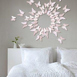 Extsud 12 Stück 3D Schmetterlings Wandaufkleber Wandsticker Wandtattoo Wanddeko mit Kristall Dekor für Wohnzimmer…