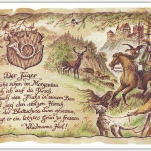 Geschenk Jäger Waidmann Jägersmann Präsent Zeichnung Color 20 x 15 cm