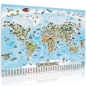 GOODS+GADGETS Panorama Weltkarte für Kinder XXL – 140x100cm Kinder-Weltkarte komplett handgezeichnet und koloriert