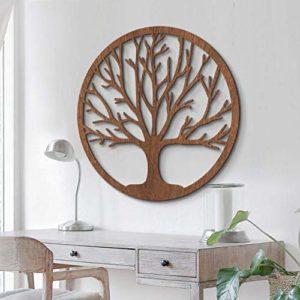 Holzdeko Mahagoni Furnier – Holz in natur – Baum des Lebens – Wall-Art ø 40 c