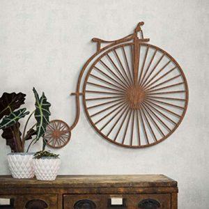 Holzdeko Mahagoni Furnier naturbelassen Holz Altes Fahrrad Hochrad Wall-Art 46×40 cm