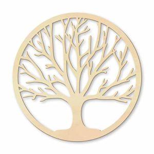 Holzdeko rund Naturprodukt naturbelassen Pappel Furnier Symbol – Baum des Lebens Wall-Art ø 40 cm