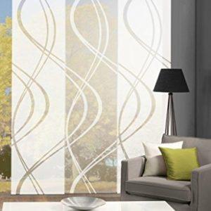 Home Fashion 88662 | 3er-Set Schiebegardinen TIBERIO | Scherli Blickdicht & transparent | wollweiß | je 245×60 cm