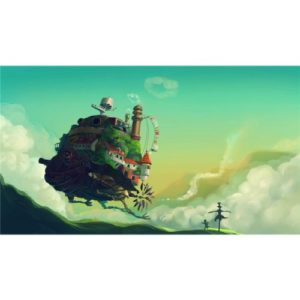 Howls Moving Castle (25inch x 14inch / 62cm x 35cm) Silk Print Poster – Seide Plakat – 8327FD