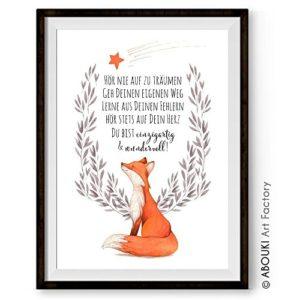 FUCHS Hör nie auf zu träumen ABOUKI Kunstdruck – ungerahmt – Geschenk-Idee Taufe Geburt Geburtstag Weihnachten für Kinder Junge Mädchen Baby DIN A4