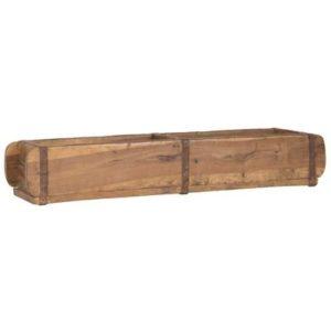 Alte Ziegelform 57x15x9,5 cm – Zweikammer – Vintage Holzkiste mit Metallbeschlägen – Echte, benutzte Form aus Indien aus…