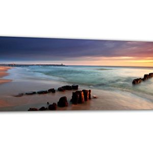 KD Dsign+ XXL Glasbild AG312500452 Mural Sandstrand Meer 125 x 50 cm/WANDBILD Deco Glass/Handmade