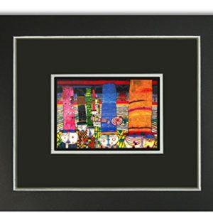 Kunstdruck Bild Hundertwasser Hüte tragen Galeriebild mit Rahmen