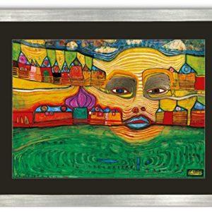 Kunstdruck Bild Hundertwasser IRINALAND ÜBER DEM BALKAN 75 x 59 cm Galeriebild mit Blattsilber Rahmen ++ SALE ++