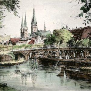 Kunstverlag Christoph Falk Handkolorierte Radierung Lübeck, Dankwartsbrücke als Loses Blatt