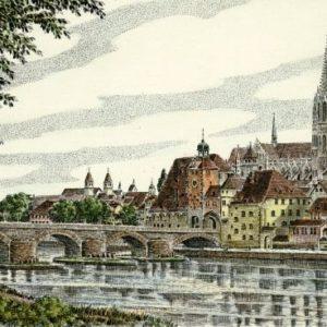 Kunstverlag Christoph Falk Handkolorierte Radierung Regensburg, Partie an der Donau als Loses Blatt