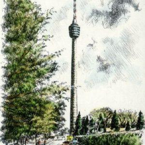Kunstverlag Christoph Falk Handkolorierte Radierung Stuttgart, Fernsehturm als Loses Blatt