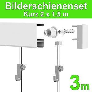 Leha Bilderschienen Galerieschienen Bilderleiste Komplett-Set 3m (2×1,5m) weiß