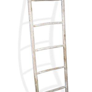 LioLiving®, Teak Handtuchhalter 150 x 49 x 5 cm (L x B x T) Dekoleiter Kleiderständer Handtuchleiter Garderobe white…