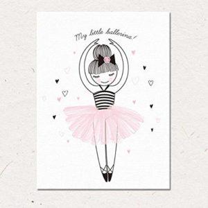 MINRAN DECOR L Druck Poster Kunstdruck – Ballerina Mädchen CP275 – Kinderzimmer Modern Art Canvas Print – Canvas Print Stretched on a Frame als Moderne Wanddekoration, 30x40cm is just a core