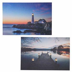 Mendler 2X LED-Bild Leinwandbild Leuchtbild Wandbild 40x60cm, Timer – Buddha + flackernd