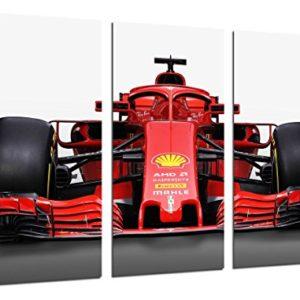 Wandbild – Formel 1 Auto, Ferrari F1 SF71-H, Ferrari F1 2018, Sebastian Vettel, Kimi Raikkonen, 97 x 62 cm, Holzdruck…