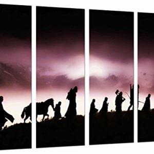 Wandbild – Herr der Ringe, Charaktere, Silhouette, 131 x 62 cm, Holzdruck – XXL Format – Kunstdruck, ref.26865