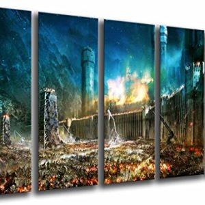 Wandbild – Herr der Ringe, Der Kampf um Mittelerde, 165 x 62 cm, Holzdruck – XXL Format – Kunstdruck, ref.26660