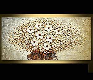 Orlco Kunst Hand bemalt Landschaft abstrakte Palette weiße Kirsche Blütenblatt Landschaft Ölgemälde Leinwand Familie Wand Wohnzimmer Kunst Stretch und gerahmt 24″x 48″