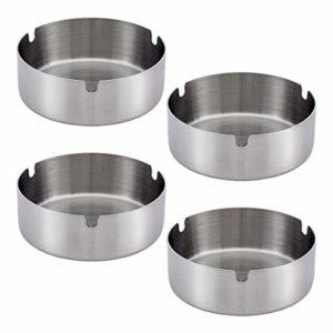 PAMASE 4 Stücke Edelstahl Aschenbecher 10cm Durchmesser Windschutz Aschenbecher für Innenraum und Draußen