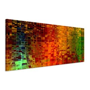 Paul Sinus Art 150x50cm Leinwandbild auf Keilrahmen Kunst Hintergrund abstrakt Pixel rot grün gelb Wandbild auf Leinwand als Panorama