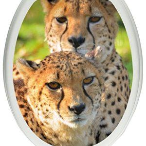 Pixxprint schönes Geparden-Paar als Toilettendeckel Aufkleber, WC, Klodeckel – Maße: 32×40 cm, Gläzendes Material…