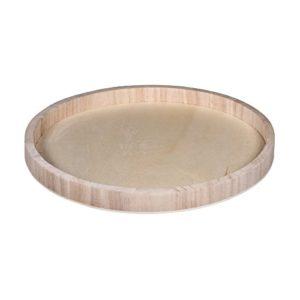Rayher 62731000 Holz-Schale zum Dekorieren, 30 cm ø, Randhöhe ca. 2,5 cm, Bodenstärke ca. 2 – 3 mm, Holztablett rund