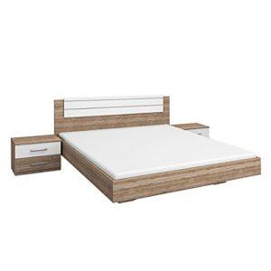 Rauch Möbel Barcelona Bett Doppelbett mit 2 Nachttischen, Eiche Sanremo hell / Weiß, Liegefläche 160×200 cm, Stellmaß…