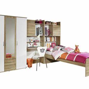 Rauch Möbel Emilio Jugendzimmer Kinderzimmer Set, Eiche Sonoma / Weiß, Bettanlage incl. Schreibtisch und…
