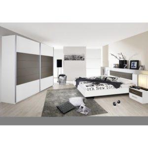 Rauch Möbel Barcelona Schlafzimmer, Weiß / Lavagrau, bestehend aus Bett mit Liegefläche 160×200 cm inklusive 2…