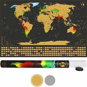 SCRATCH IT Weltkarte zum Rubbeln – Rubbel Landkarte – Poster XXL zum Freirubbeln inkl. Geschenkverpackung (Gold/Schwarz…