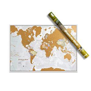 Weltkarte zum Rubbeln Poster – Kratze Orte ab, an die du Reist! – Reisegröße 42 cm (B) x 29,7 cm (H) – Kartografische…