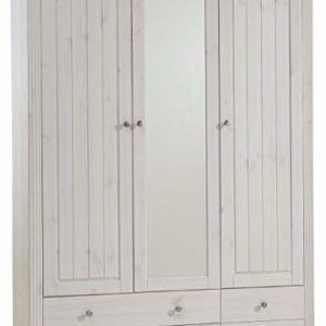 Steens Schlafzimmer Set Monaco Landhaus, 4-teiliges Set, Kiefer massiv weiß lasiert, Absetzung schwarz