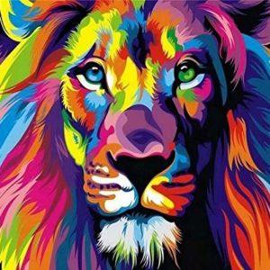 Suntown Holzrahmen Malen nach Zahlen 40 x 50cm DIY Leinwand Gemälde für Erwachsene und Kinder mit 3 Bürsten und Acrylfarben – Abstrakter König der Löwen (Leinwand ist Vormontiert)