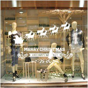 Tuopuda Weihnachtssticker Weihnachten Rentier Schneeflocken Stadt Removable Vinyl Fensterbilder Fensterdeko…