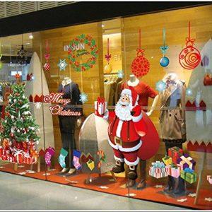 """Tuopuda Weihnachtssticker""""Frohe Weihnachten"""" Weihnachtsmann Weihnachtsbaum Weihnachten Strümpfe Weihnachten Geschenke Wandaufkleber Weihnachtsdeko (weihnachtsmann)"""