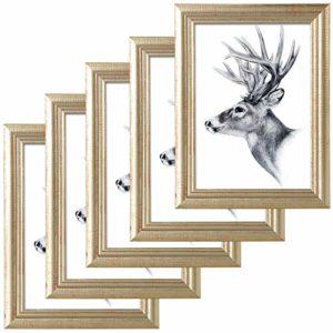 WOLTU 5er Set Bilderrahmen,10x15cm Artos Stil Holzrahmen Fotogalerie Glasscheibe,Gold