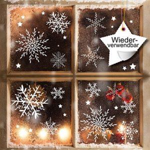 Fensterbild Wunderschöne Schneeflocken im Set – WIEDERVERWENDBAR – 24 filigrane Aufkleber Schneeflocken und Sterne von…