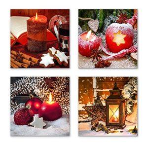 Weihnachten Set B schwebend, 4-teiliges Bilder-Set jedes Teil 19x19cm, Seidenmatte Optik auf Forex FineArt Print, Moderne Optik, UV-stabil, wasserfest, Kunstdruck für Büro, Wohnzimmer, XXL Deko Bild