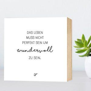 Wunderpixel® Holzbild Wundervolles Leben – 15x15x2cm zum Hinstellen/Aufhängen, echter Fotodruck mit Spruch auf Holz…